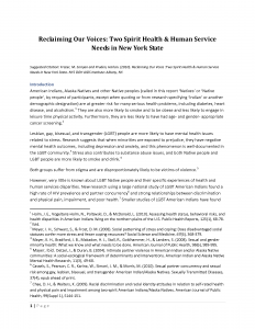 Reclaiming Our Voices: Two Spirit Health & Human Service Needs in New York State